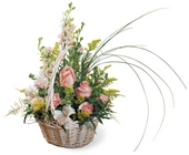Blushing Beauty Basket from Backstage Florist in Richardson, Texas