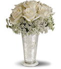 Teleflora's White Lace Centerpiece from Backstage Florist in Richardson, Texas