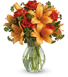 Fiery Lily and Rose from Backstage Florist in Richardson, Texas
